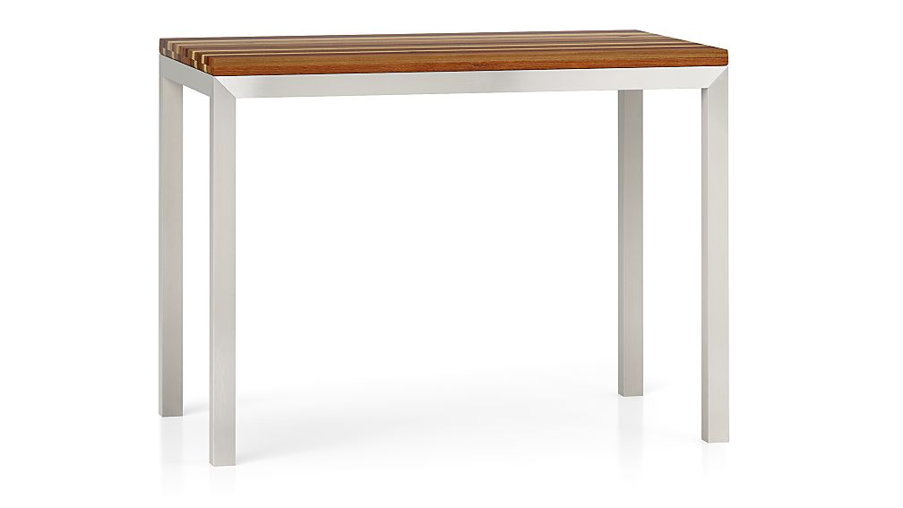 Reclaimed Wood Top Stainless Steel Base 48x28 Parsons High Dining Table Cr