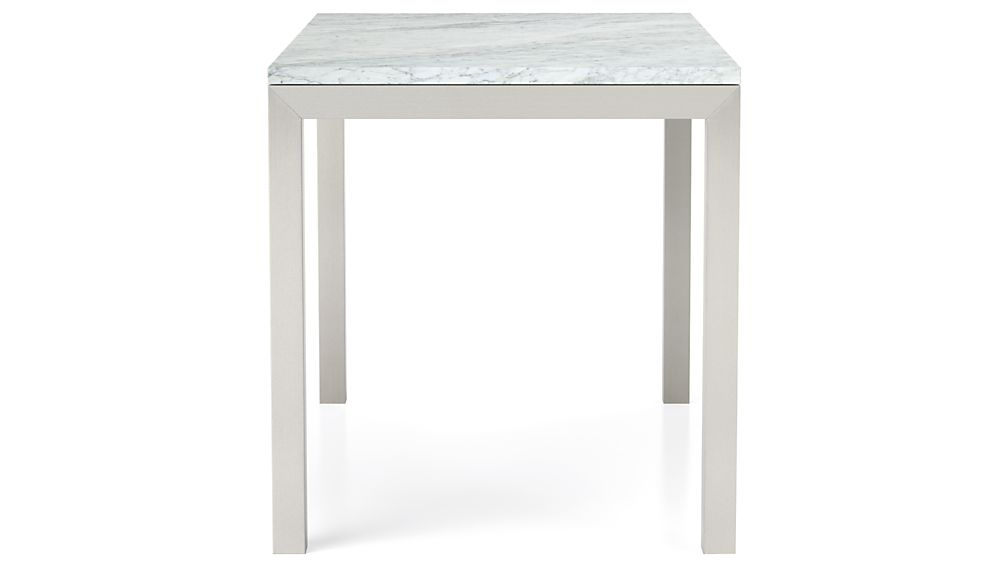 Marble Top/ Stainless Steel Base 72x42 Parsons Dining Table