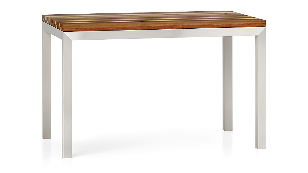 Reclaimed Wood Top/ Stainless Steel Base 48x28 Parsons Dining Table