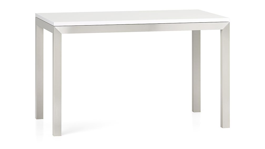 White Top/ Stainless Steel Base 48x28 Parsons Dining Table