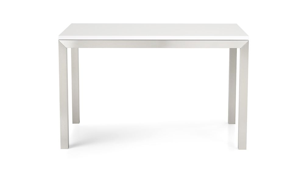 White Top/ Stainless Steel Base 72x42 Parsons Dining Table