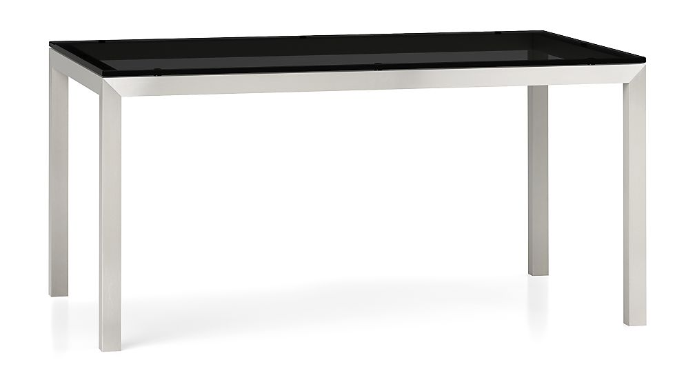 Grey Glass Top/ Stainless Steel Base 60x36 Parsons Dining Table