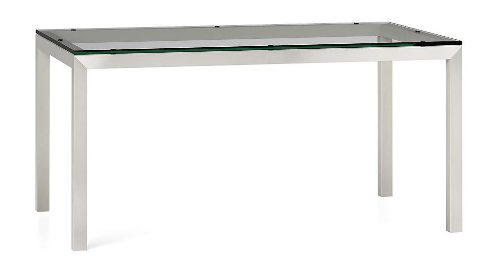 Clear Glass Top/ Stainless Steel Base 60x36 Parsons Dining Table