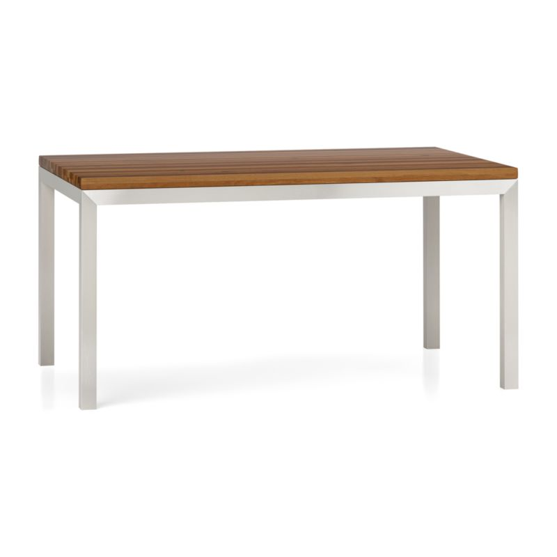 Parsons reclaimed wood top stainless steel base 60x36 dining table crate and barrel - Crate and barrel parsons chair ...