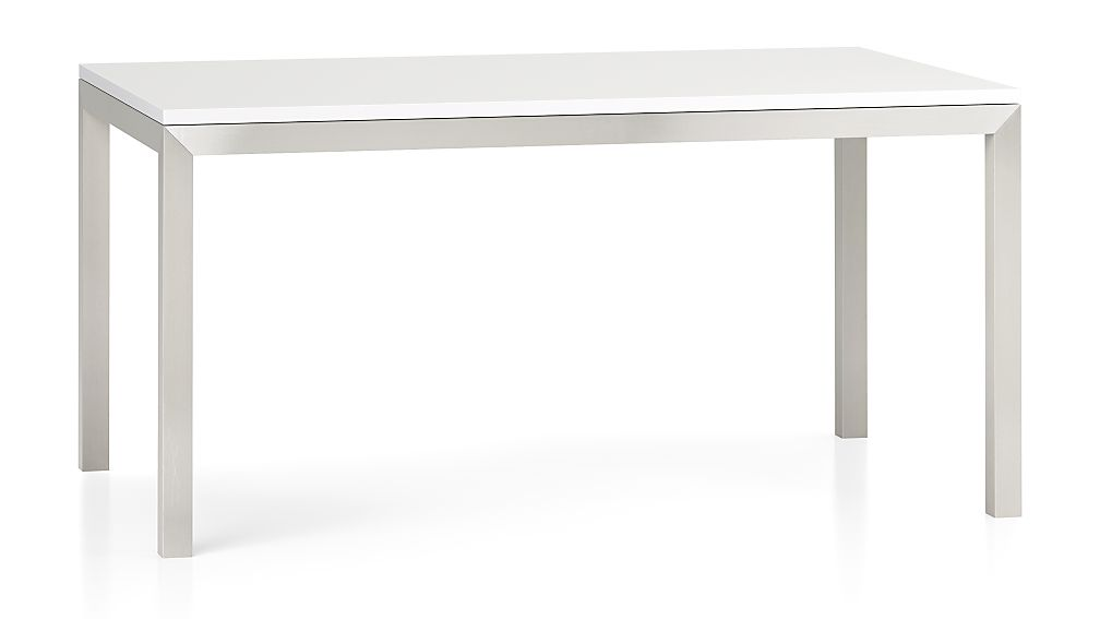 White Top/ Stainless Steel Base 60x36 Parsons Dining Table