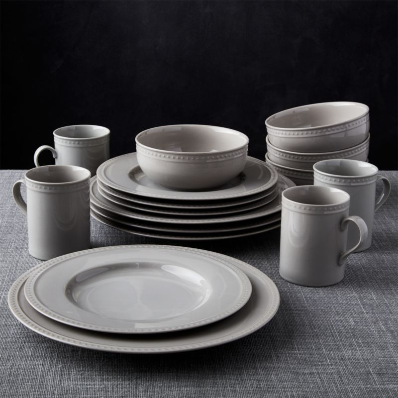 Staccato Grey 16 Piece Dinnerware Set Crate And Barrel