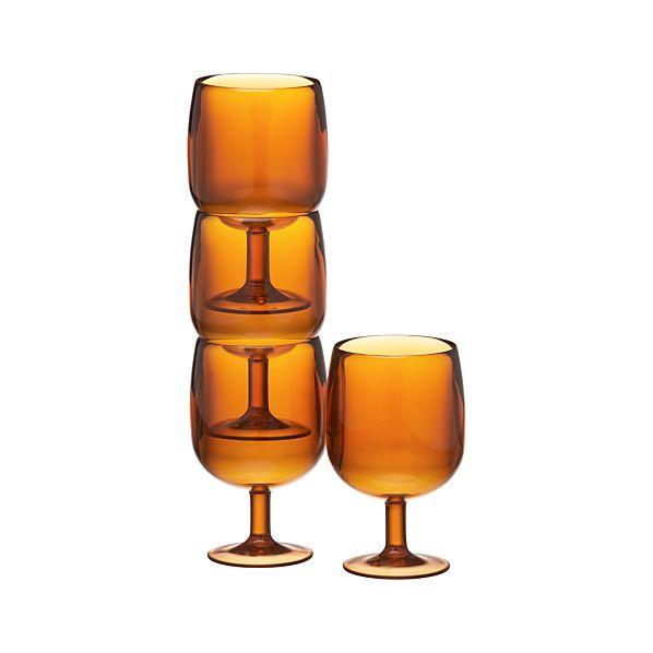 Set of 4 Stacking Orange Acrylic Wine Glasses