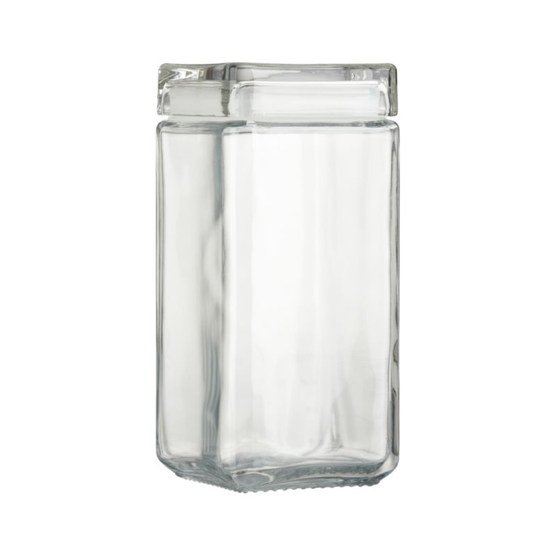 Form meets function in this squared-off jar that stacks every which way. Clear glass jar and lid seal tight with rubber gasket.<br /><br /><NEWTAG/><ul><li>Machine pressed glass</li><li>Rubber gasket</li><li>Dishwasher-safe</li><li>Made in USA</li></ul>