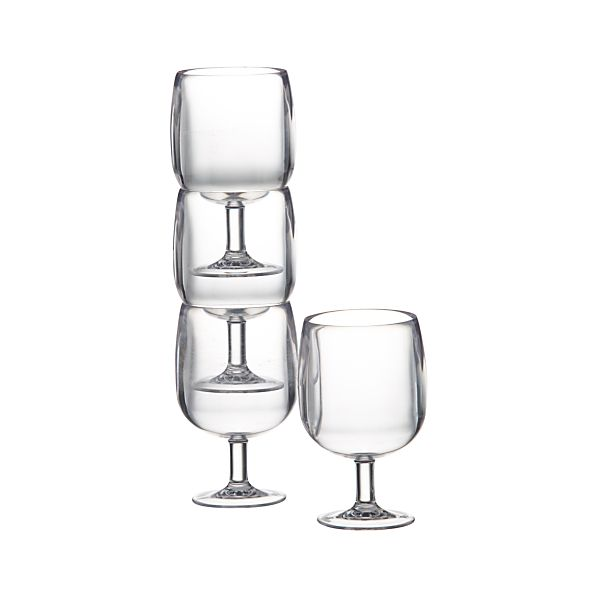 Set of 4 Stacking Clear Acrylic Wine Glasses