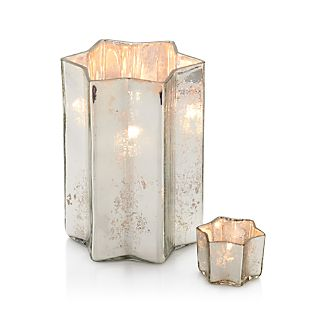 Star of David Antiqued Silver Glass Candle Holders