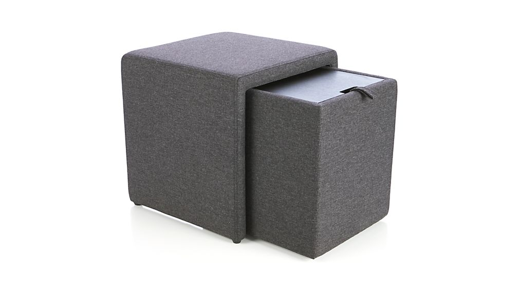 Stash Grey Storage Ottoman In Ottomans Cubes Crate And