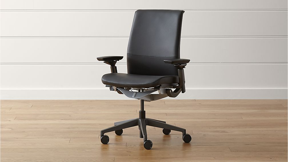 steelcase think ebony leather office chair elmosoft ebony