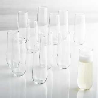 Set of 12 Stemless Flute Glasses 9 oz.