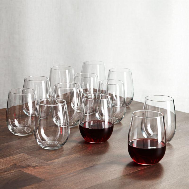 set of 12 stemless wine glasses 17 oz crate and barrel. Black Bedroom Furniture Sets. Home Design Ideas