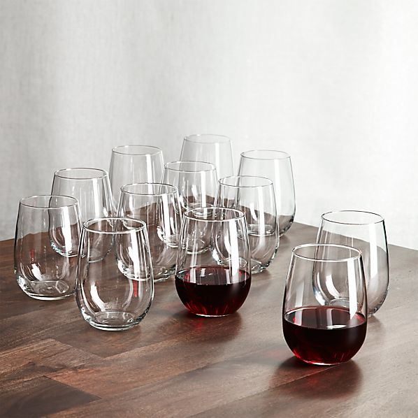 Set of 12 Stemless Wine Glasses 17 oz.