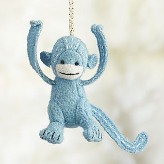 Stitched Monkey Blue Ornament