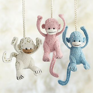 Stitched Monkey Ornaments
