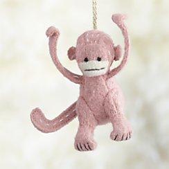 Stitched Monkey Pink Ornament