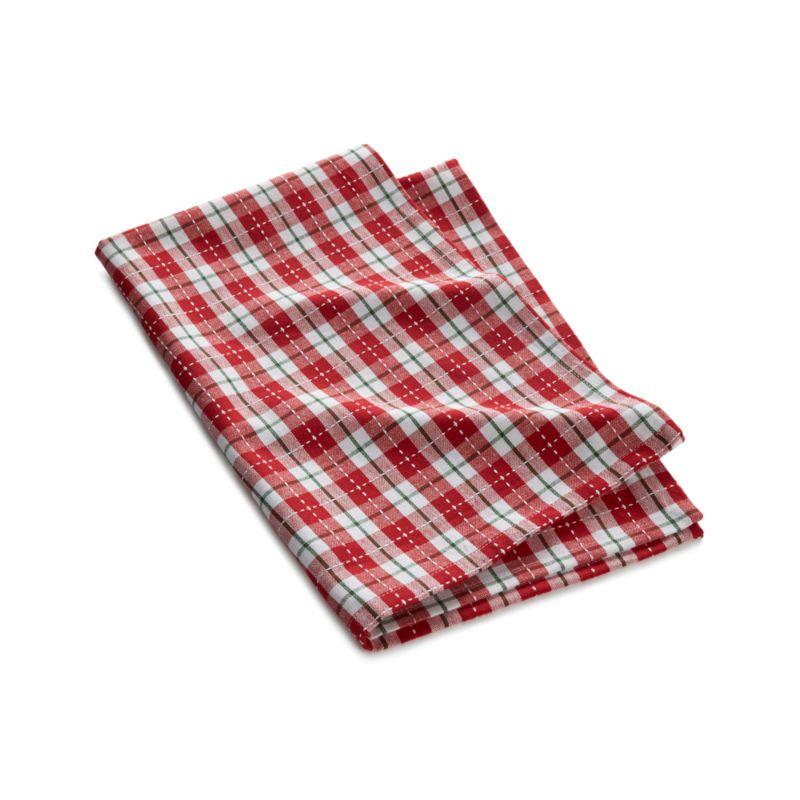 Stitched Plaid Dish Towel