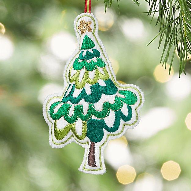 Stitched Green Tree Ornament