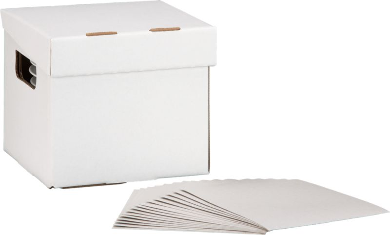 Keep extra plates and bowls protected and organized in this task-specific corrugated cardboard storage box with hinged lid and cutout handles. Dinnerware box includes 16 paperboard pads to separate up to 17 plates or bowls.<br /><br /><NEWTAG/><ul><li>Corrugated cardboard</li><li>Disposable/recyclable</li><li>50 lb. capacity</li><li>Made in USA</li></ul>