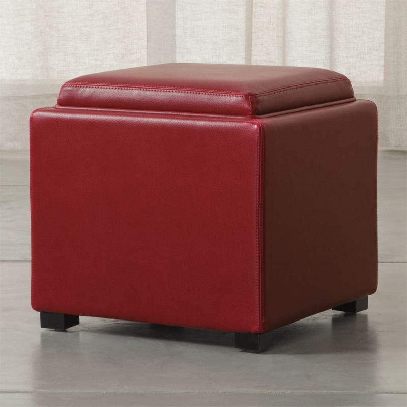 Stow red 17 leather storage ottoman crate and barrel for Crate and barrel pouf