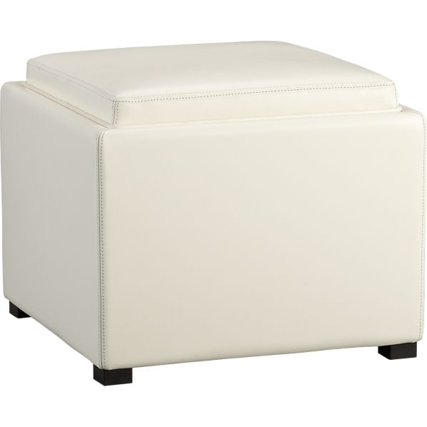 "Stow Blanco 22"" Leather Storage Ottoman"