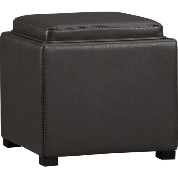 "Stow Smoke 17.5"" Leather Storage Ottoman"