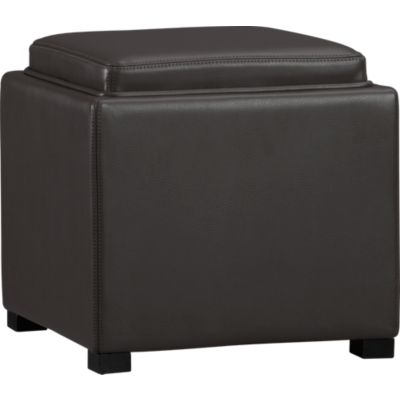 Stow Smoke 17.5 Leather Storage Ottoman