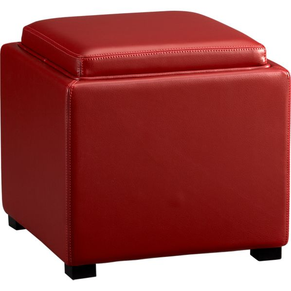 "Stow Red 17.5"" Leather Storage Ottoman"