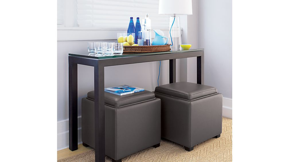 Parsons Dark Steel Console Table with Glass Top