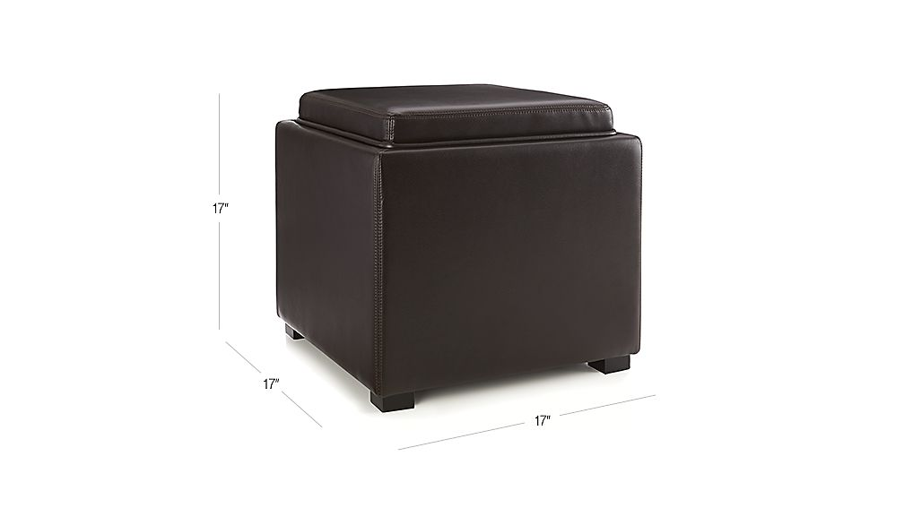 Stow Chocolate 17 Quot Leather Storage Ottoman Crate And Barrel