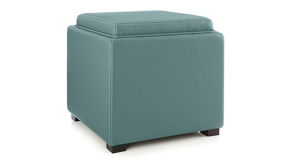 Stow Ocean 17 Leather Storage Ottoman In Ottomans Cubes