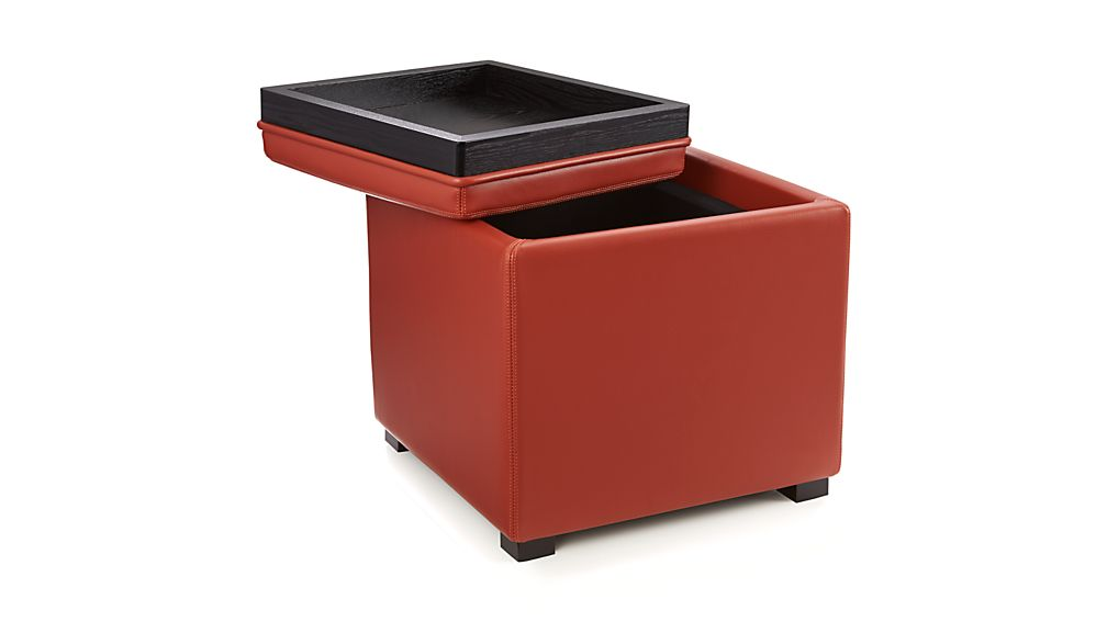 Stow Persimmon 17 Leather Storage Ottoman Crate And Barrel