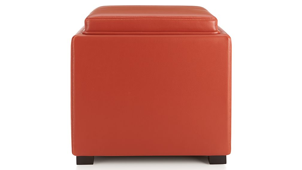 Stow Persimmon 17 Quot Leather Storage Ottoman Crate And Barrel