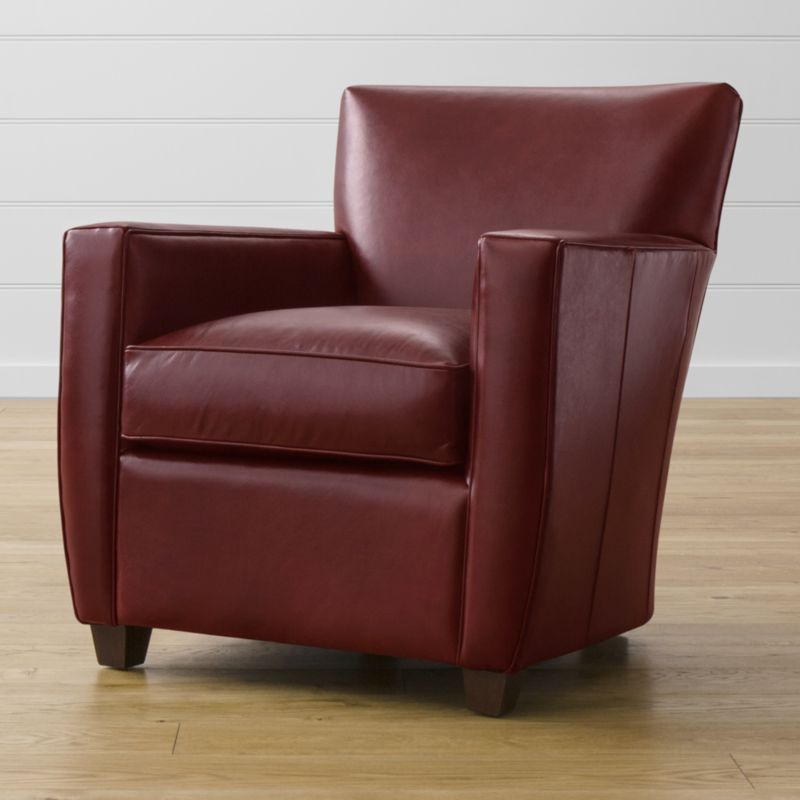 The Streeter leather chair's clean, Art Deco lines, soft cushioning and broad, padded track arms invite you to relax, read or enjoy your favorite media in classic comfort. The engaging experience is elevated further with fine top-grain leather upholstery, expertly finished with crisp self-welting. <NEWTAG/><ul><li>Frame is benchmade with certified sustainable hardwood that's kiln-dried to prevent warping</li><li>Multilayer soy-based polyfoam seat cushion wrapped in fiber-down blend and encased in downproof ticking</li><li>Multilayer soy-based polyfoam with fiber tight back</li><li>Flexolator spring suspension</li><li>Hardwood legs with hickory brown finish</li><li>Made in North Carolina, USA of domestic and imported materials</li></ul>