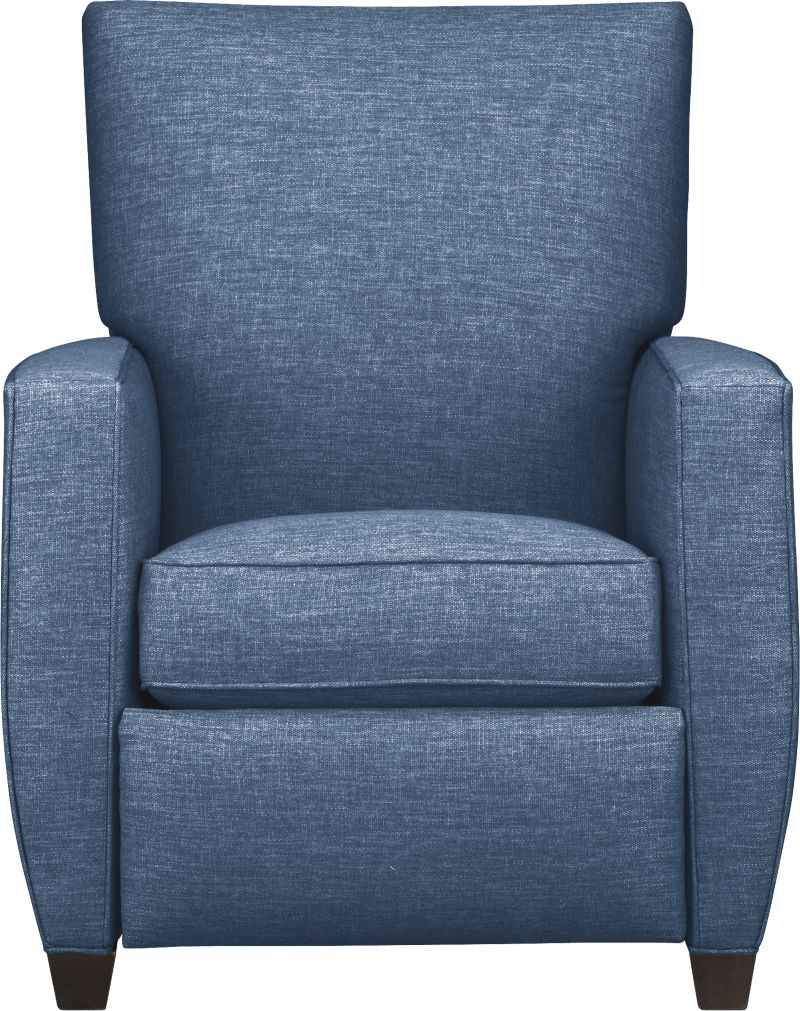 Beneath those sly voluptuous good looks lies the hidden pleasure of the classic recliner. Not only are the lines modern, but the hidden push-back mechanism completes the clean silhouette.<br /><br />After you place your order, we will send a fabric swatch via next day air for your final approval. We will contact you to verify both your receipt and approval of the fabric swatch before finalizing your order.<br /><br /><NEWTAG/><ul><li>Eco-friendly construction</li><li>Certified sustainable kiln-dried hardwood frame</li><li>Seat cushion is multilayer soy- or plant-based polyfoam wrapped in fiber-down blend and encased in downproof ticking</li><li>Tight back is filled with multilayer soy- or plant-based polyfoam with fiber</li><li>Flexolator spring suspension</li><li>Hidden steel push-back mechanism</li><li>Hardwood legs in cognac finish</li><li>Benchmade</li><li>See additional frame options below</li></ul>