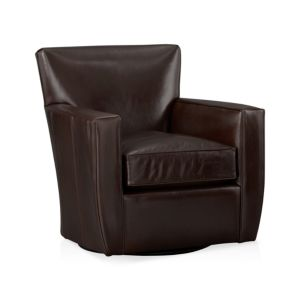 Streeter Leather 360 Swivel Chair Cashew Crate And Barrel