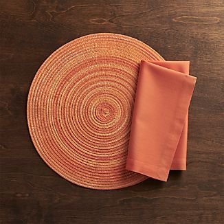 Stria Coral Placemat and Fete Coral Napkin