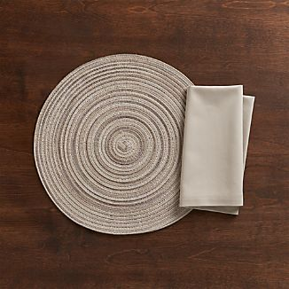 Stria Neutral Placemat and Fete Dove Napkin