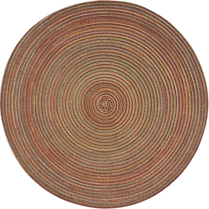 Distinctive placemat spins a tonal fall palette in the round with rustic texture and easy-clean care.<br /><br /><NEWTAG/><ul><li>100% polyester</li><li>Clean with a damp cloth</li><li>Made in China</li></ul>