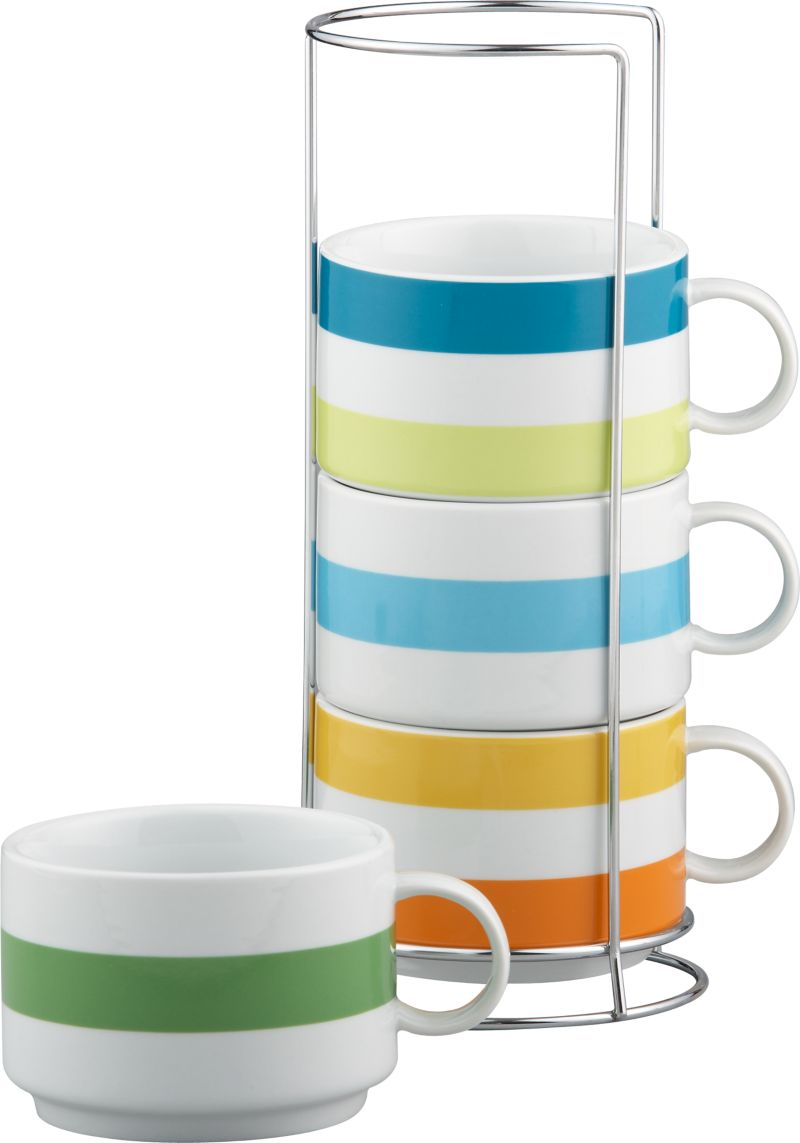 Rack up this foursome of colorful mugs for convenient service and countertop display. Jumbo mugs offer bountiful servings of beverages, soups or chili.<br /><br /><NEWTAG/><ul><li>Porcelain</li><li>Chrome-plated iron rack</li><li>Dishwasher-, microwave- and oven-safe to 350 degrees</li><li>Made in China</li></ul>
