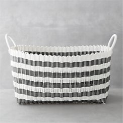 Grey-White Stripe Laundry Hamper