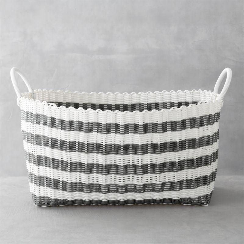 Grey-White Stripe Laundry Hamper
