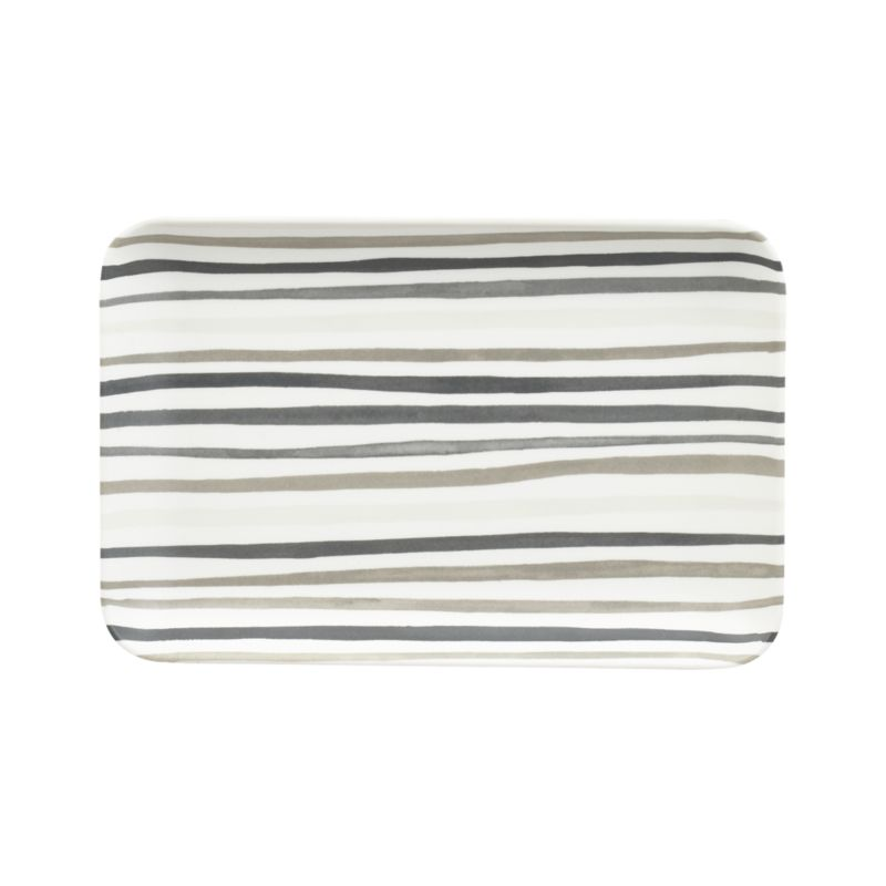 Fabric-inspired stripes wave casual, slim horizontals in warm tonal greys. Easy-care rectangular melamine plate has smooth matte finish that serves up snacks, drinks and hors d'oeuvres, indoors and out.<br /><br /><NEWTAG/><ul><li>100% melamine</li><li>Dishwasher-safe</li><li>For indoor or outdoor use</li><li>Made in China</li></ul>