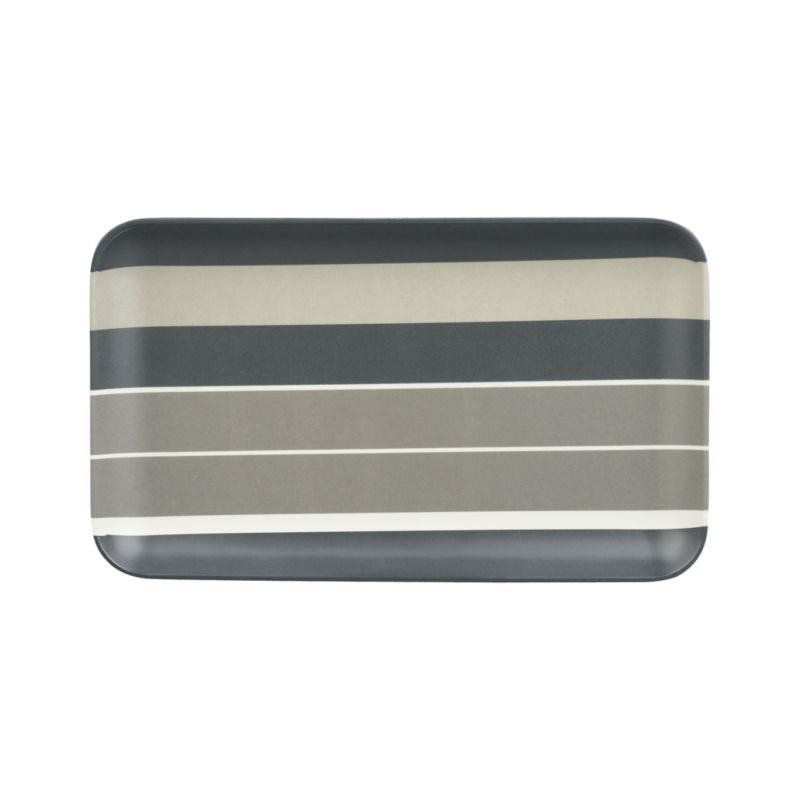 Fabric-inspired stripes wave broad horizontals in warm tonal greys. Easy-care rectangular melamine plate has smooth matte finish that serves up snacks, drinks and hors d'oeuvres, indoors and out.<br /><br /><NEWTAG/><ul><li>100% melamine</li><li>Dishwasher-safe</li><li>For indoor or outdoor use</li><li>Made in China</li></ul>