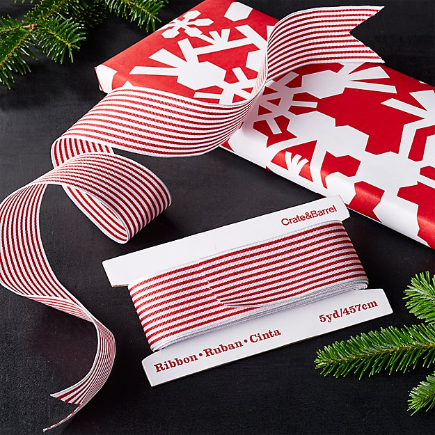 Red-White Wired Grosgrain Ribbon