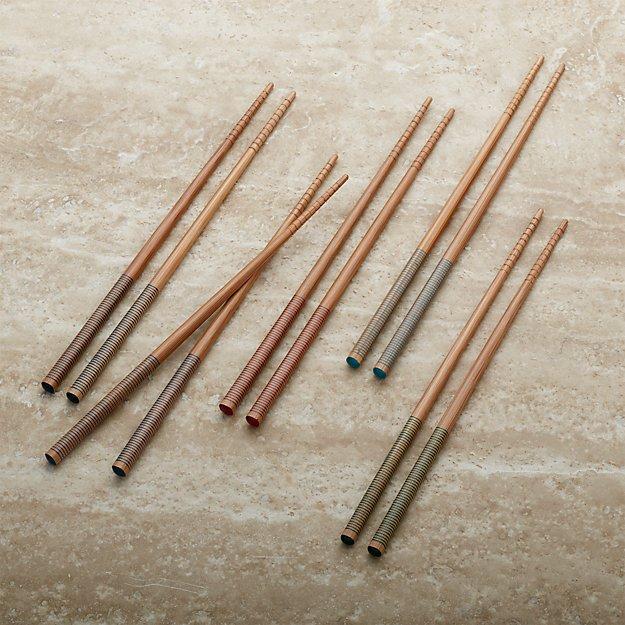 Set of 5 Striped Bamboo Chopstick Pairs