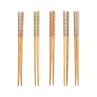 Set of 5 Striped Bamboo Chopstick Pairs