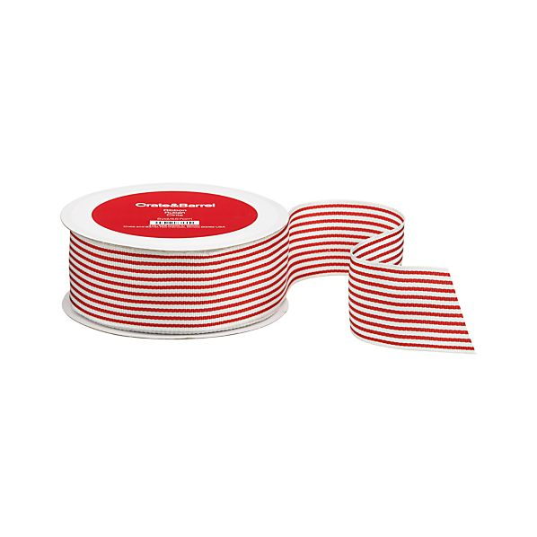 Striped Red and White Grosgrain Ribbon